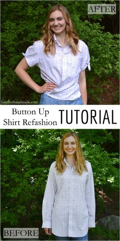 Use up those button up shirts in your closet or from the thrift store. Use this sewing tutorial to turn a button up shirt into a gorgeous wrap top with cute tie sleeves! This is a simple way to take in the sides and sleeves of a button up shirt! Button Up Shirt Refashion Tutorial // heatherhandmade.com