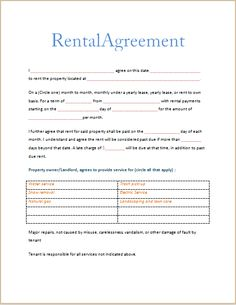 124 Best Rental Agreement Images Rental Agreement Templates Lease