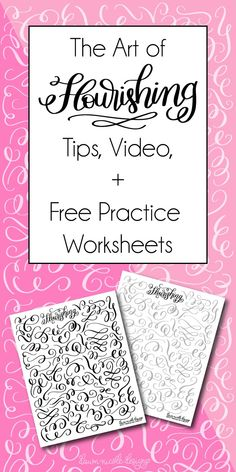 Flourishing Tips and Free Practice Worksheet Set. Plus a video tutorial, more practice worksheets, recommended supplies, and more! Hand Lettering 101, Brush Lettering Worksheet, Hand Lettering For Beginners, Calligraphy For Beginners, Hand Lettering Practice, Hand Lettering Alphabet, Hand Lettering Tutorial, Doodle Lettering, Learn Calligraphy