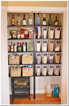 Organized pantry. Before and after pantry organization. Good inspiration for a pantry overhaul.