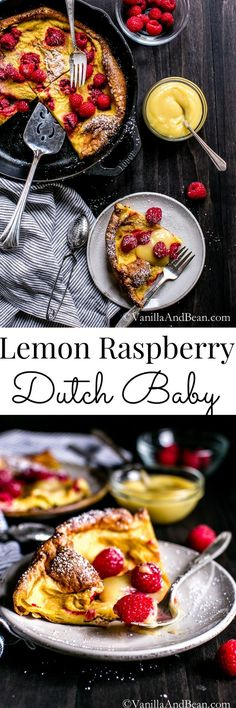 Enjoy the delightful drama of a Lemon Raspberry Dutch Baby with an Easy Lemon Curd | Vanilla And Bean