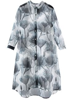 The sheer cardigan kimono is featuring long sleeve, button down front, high low hemline and printed design.