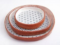 Set of Three Handmade Tapas Plates Ceramic Plate by susansimonini