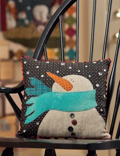 """Snowman pillow from Kim Diehl's book """"Simple Christmas Tidings"""""""