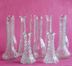 Clear Glass Vintage 20 Bud Vase Collection Tall 9 bud by OllyOxes Cut Glass Vase, Clear Glass Vases, Glass Jars, Wedding Reception Layout, Wedding Reception Invitations, Wedding Receptions, Reception Ideas, Diy Wedding Flowers, Diy Wedding Decorations