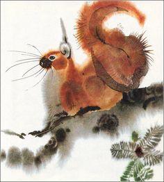 """Alfred Könner, """"Bilderzoo"""" Squirrel by Illustrator Mirko Hanák"""
