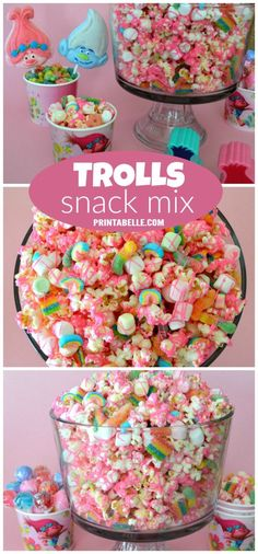 We're loving the Trolls movie and came up with a fun party snack mix that