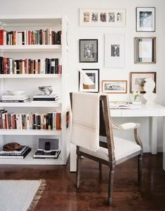 Copy Cat Chic Room Redo | Sophisticated Home Office  Love the way they've styled the bookcase. Plenty of room for books, but they're not overwhelming.