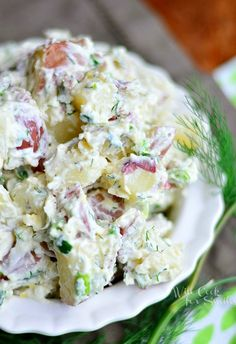 Parmesan Herb Potato Salad, amazing side dish for any barbeque! from willcookforsmiles.com