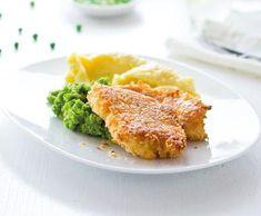 Recept Obalované rybí filé s kaší a hráškem