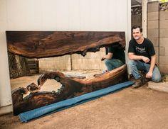 "Black Walnut Live Edge River Mirror 40x81"" | PORTFOLIO Table Furniture, Furniture Making, Modern Furniture, Outdoor Furniture, Outdoor Decor, Modern Table, Modern Rustic, Live Edge Shelves, Slab Table"