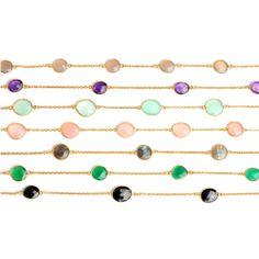 Touch of Gold Edelsteinketten von Rockberries in verschiedenen Farben