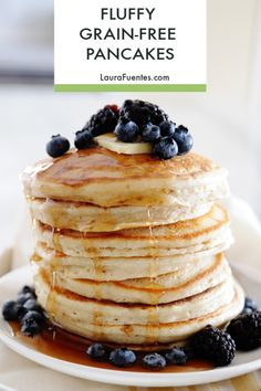 Thick, fluffy cassava flour pancakes make a delicious gluten-free, paleo breakfast! You're never going to believe how good these gluten-free pancake. Free Breakfast, Paleo Breakfast, Breakfast Recipes, Dessert Recipes, Desserts, Breakfast Pizza, Breakfast Frittata, Breakfast Cereal, Breakfast Muffins