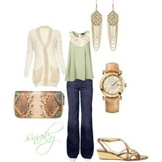 Love the mint green with dark jeans and the cream!