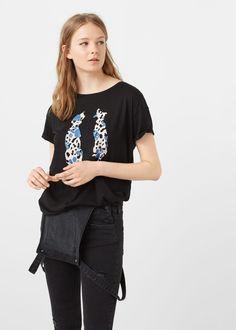 Cotton modal-blend t-shirt -  Women   MANGO USA