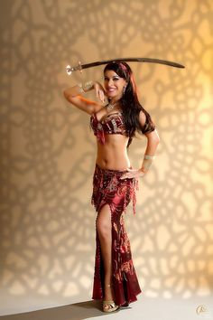 Tribal belly dance costume with the sword