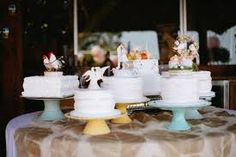 multiple cakes on platters wedding - Google Search