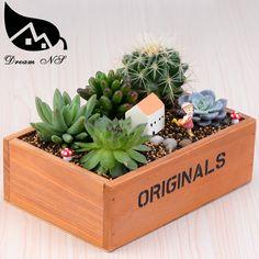 Decoration zakka retro wooden storage box finishing plant pots succulents pots rectangular pots pots table size19x13x6cm