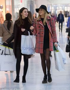 Retail therapy: Lucy Watson (left) and Stephanie Pratt stepped out for a spot of shopping at north London's Brent Cross Shopping centre on Thursday