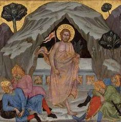 The Resurrection, fourteenth- or fifteenth century, Taddeo di Bartolo; Christ's symbolic attributes include the banner of the Resurrection and a palm branch, symbolising triumph (over death). (Christie's)