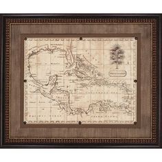 "Rustic Bar Cart -- Paragon Caribbean Old World Map, 1806 Framed Print - Arrowsmith -- 38"" H X 45"" W -- Ships in 1-2 Weeks"