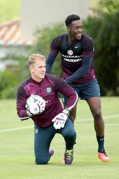 Joe Hart and Danny Welbeck enjoy their training session in Portugal pre World Cup