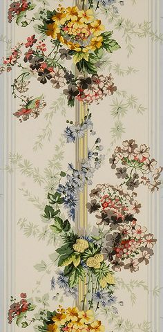 Floral wallpaper can make a room pop with beauty. Retro Wallpaper, Fabric Wallpaper, Wall Wallpaper, Pattern Wallpaper, Decoupage Paper, Textile Prints, Textiles, Designer Wallpaper, Toile