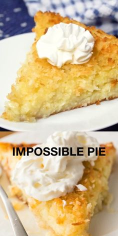 Impossible Pie : Impossible Pie - The easiest pie you will ever bake! It magically forms its own crust plus two delicious layers while baking. The easiest pie you will ever bake! It magically forms its own crust plus two delicious layers while baking. Coconut Recipes, Tart Recipes, Baking Recipes, Sweet Recipes, Baking Pies, Easy Desserts, Delicious Desserts, Homemade Desserts, Desserts For Potluck