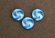 3 Vintage Blue Swirl Acrylic Shank Buttons #vintage #vintagebuttons #buttonitupvintage #blue #swirl