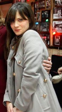 Zooey Deschanel's Grey coat with gold buttons.  Outfit Details: http://wwzdw.com/z/3366/ #WWZDW
