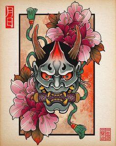 """Le tatouage Hannya est souvent représenté dans les tatouage Irezumi. Hannya est un oni (démon japonais). Le démon Hannya symbolise la vengeance. Nous adorons ce motif japonais emblématique du pays du soleil levant ! N'hésite pas à """"save""""cette pin si tu aimes notre contenu 👹 #hannya #tatouage #irezumi #japon #oni Hannya Mask Tattoo, Hanya Tattoo, Japanese Demon Tattoo, Japanese Sleeve Tattoos, Japan Tattoo Design, Japanese Tattoo Designs, Traditional Tattoo Art, Traditional Japanese Tattoos, Oni Maske"""