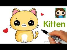 How to Draw + Color Nyan Cat step by step Easy and Cute - YouTube Cute Cat Drawing Easy, Cat Drawing For Kid, Easy Horse Drawing, Super Easy Drawings, Cat Face Drawing, Cat Drawing Tutorial, Drawing Videos For Kids, Easy Drawings For Kids, Drawing Tutorials