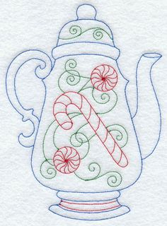 A festive Christmas Redwork teapot. Pinner has several tea item patterns