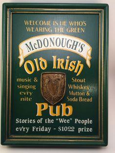 McDONOUGH'S Old Irish Pub Bar Sign.  Man Cave Decor,  Wood Sign