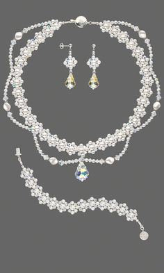 Double-Strand Necklace, Bracelet and Earring Set with SWAROVSKI ELEMENTS - Fire Mountain Gems and Beads