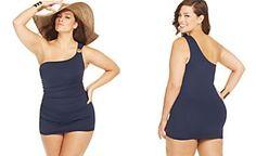 MICHAEL Michael Kors Plus Size One-Shoulder Logo Swimdress