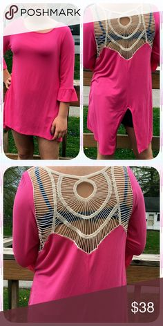 Listing! Crochet Back Hot Pink Tunic! NEW! Webbed crochet back. Ruffled 3/4 sleeves. Splits at back. NWOT only worn to model. Model is a size 8 medium 64 inches tall. Boutique Tops Tunics
