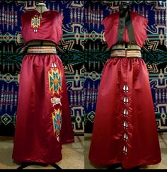 Satin dress has a fitted high waisted skirt with a crop top. Design is done in a satin applique. Native American Clothing, Native American Regalia, Native American Fashion, American Apparel, Native Fashion, Women's Fashion, Fashion Design, Beadwork, Beading