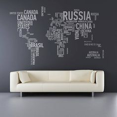 Bring the world into your room with this minimalist design. Ideal for those who love typography. | 28 Inspiring Decor Ideas To Satisfy Your Wanderlust