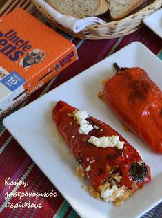 Πιπεριές Φλωρίνης γεμιστές στο φούρνο - cretangastronomy.gr Meatloaf, Pork, Ethnic Recipes, Kale Stir Fry, Pork Chops