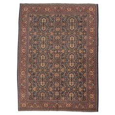 20th Century Red over Blue Backgorund Wool Tabriz Rug For Sale