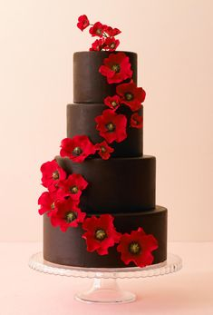Try this chocolate covered cake with gorgeous red flowers for its design! Description from faxo.com. I searched for this on bing.com/images