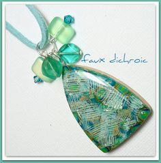 polymer clay 3 Part Tutorial Faux Dichroic Peacock by BeadazzleMe, $15.00