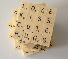 Upcycled Set of 6 Scrabble Coasters Scrabble Letter Crafts, Scrabble Coasters, Scrabble Letters, Scrabble Tiles, New Crafts, Xmas Crafts, Crafts To Sell, Home Crafts, Arts And Crafts