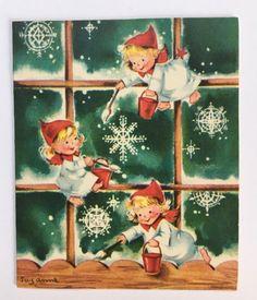 Vintage Suzanne Christmas Card Cute Angel Pixie Girls Painting Snowflake Window