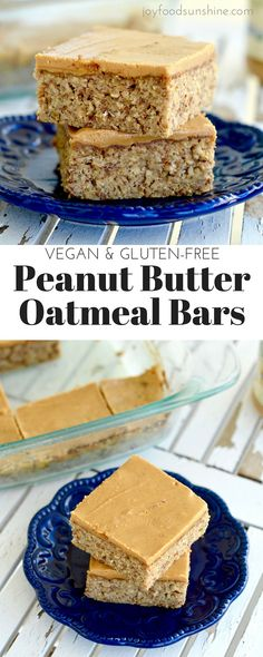 Peanut butter oatmeal breakfast bars. A filling breakfast rich in protein, fiber, and omega 3's ! They are gluten-free, dairy-free