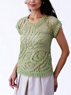 Crochet Tunic, Crochet Motif, Crochet Clothes, Crochet Tops, Knitting Patterns, Crochet Patterns, Pineapple Crochet, Cotton Thread, Free Pattern