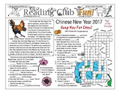 CHINESE NEW YEAR 2017 (Year of the Rooster) Includes: a 2-page activity set and a FREE word search puzzle to reinforce the vocabulary.