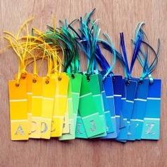 use paint tag for tags.  I really like this idea.  Great way to recycle paper too!