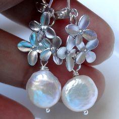 Coin Pearl Earrings Silver Flower Earrings Ivory by 5andUnder, $20.00